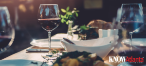 Thanksgiving meal with wine