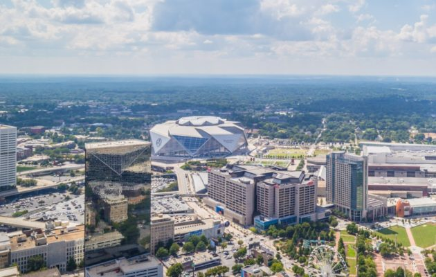 Downtown Atlanta with Mercedes-Benz Stadium